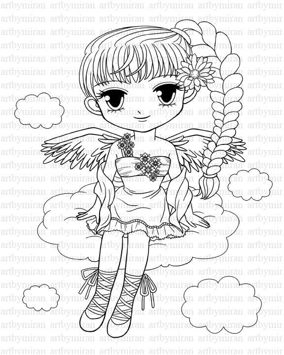 digi stamp pretty girl angel coloring page big eyed girl. Black Bedroom Furniture Sets. Home Design Ideas