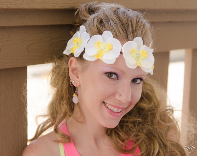 White Yellow Orchid Flower Crown