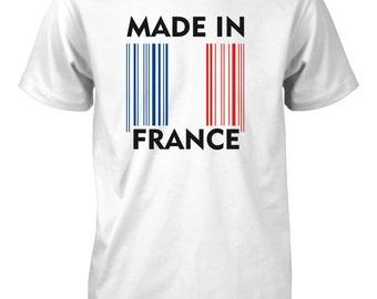 Made in France Flag Barcode T-Shirt for Men