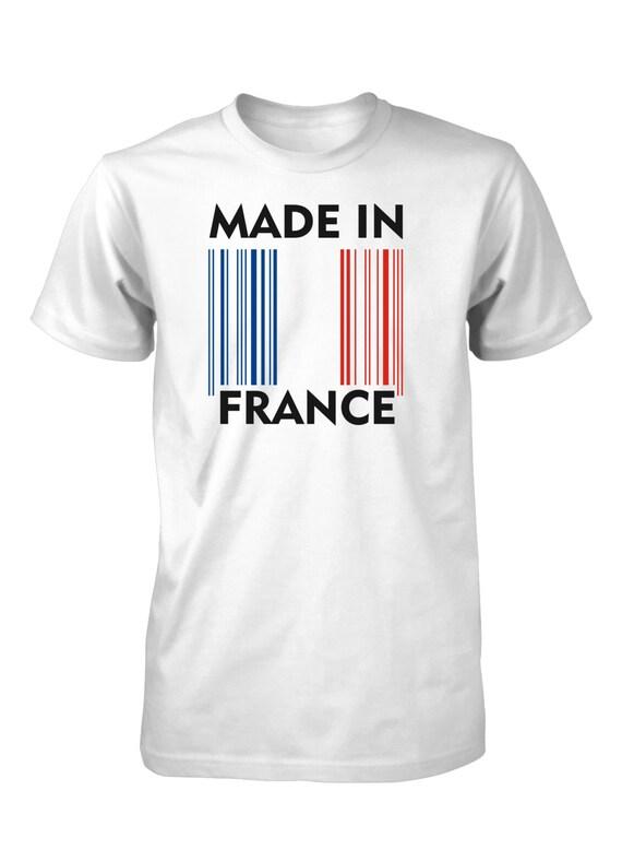 made in france flag barcode t shirt for men. Black Bedroom Furniture Sets. Home Design Ideas