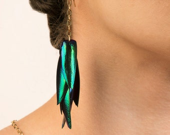 Beetle Wing Dangle Earrings with Gold Filled Earwires and Gold plated or Sterling Silver Chain