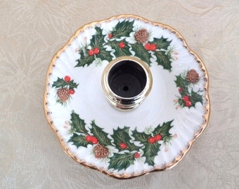 Vintage Rosina Fine Bone China Yuletide Pattern Candle Holder Made in England