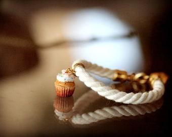 Cupcake Bracelet / Rope Bracelet / Food Jewelry / Dollhouse Miniature / Miniature Food /