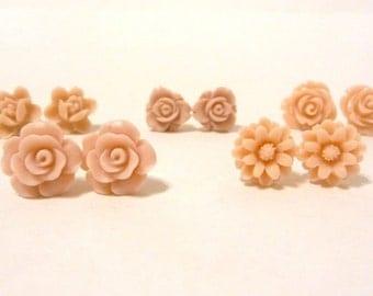 Rose Earrings, Flower Post Earrings, Bridesmaid Earrings, Rosebud Earrings, Will you be my bridesmaid