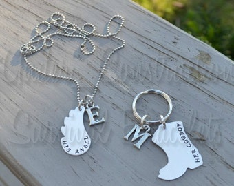 Hand Stamped Key Chain, Necklace - His Angel Her Cowboy