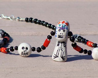 Skeleton Talisman Necklace with Skulls