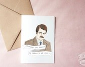 Ron Swanson greeting Valentine's day card birthday Parks and Recreation Nick Offerman