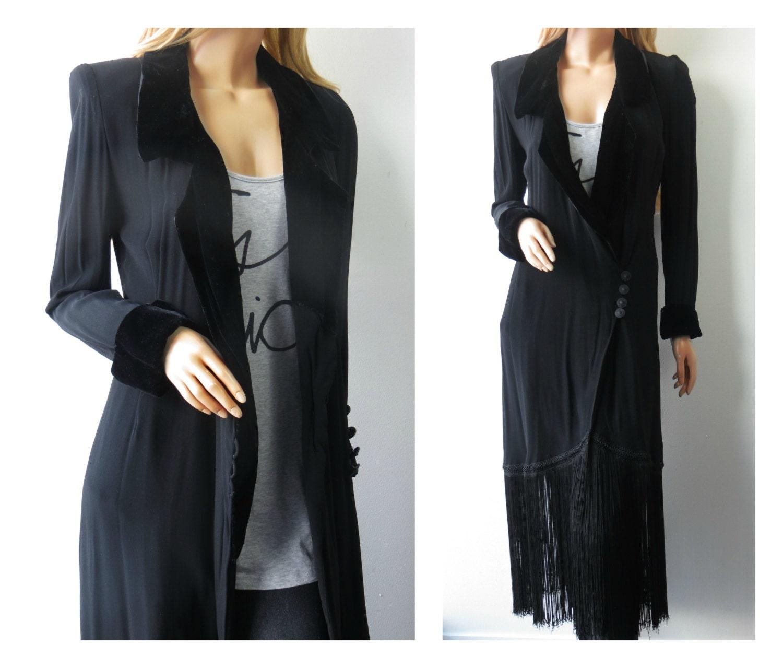 90s stevie nicks style velvet fringe dress jacket by theohv