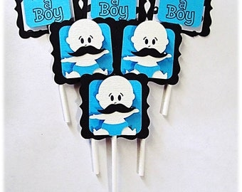 Baby Shower Mustache Baby Boy Cupcake Toppers