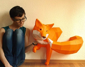 BIG Orange Fox sculpture, DIY, Paperwolf Paper Fox
