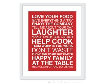 Dinner and Kitchen Rules Wall Art Print - Modern - Red and White - Typography Poster - House Rules - Subway Sign - 8x10