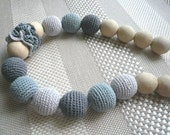 Teething Necklace for mom to wear/Breastfeeding Necklace /Wooden knitted with crochet  gray, light gray necklace