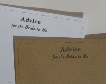 Advice for the Bride to Be Card- Blank Wish Cards- Wedding- Wedding Shower - Advice Card - Wedding Wish Card - bridal shower