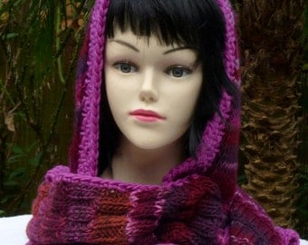 Long and wide** hooded scarf  berry