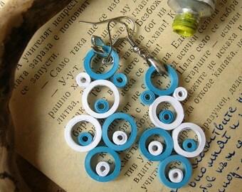 Paper Earrings, Paper Gift for her, Geometric Earrings, white and blue earrings, Circle earrings, 1st Paper anniversary, Bib Earrings