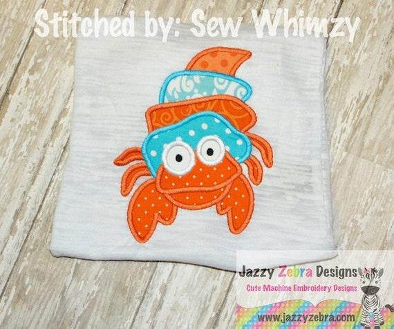 Hermit Crab Applique embroidery Design - crab Applique Design - beach Appliqué Design - summer Applique Design