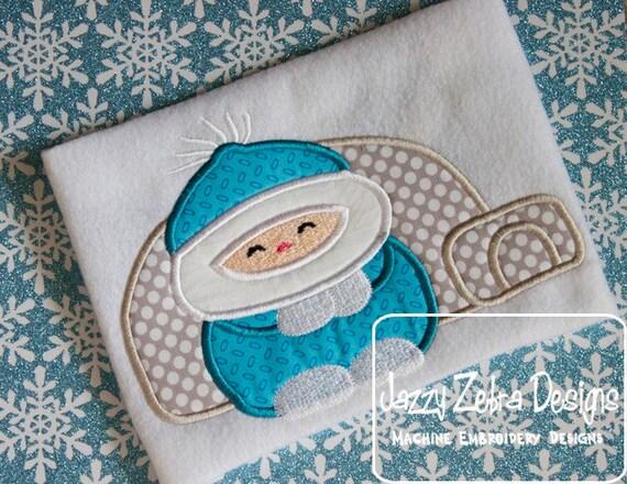Eskimo Applique embroidery Design - Eskimo Applique Design - winter Applique Design - igloo Applique Design
