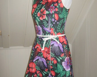 Vintage Skirted Romper 1970s Bright Floral Small Medium
