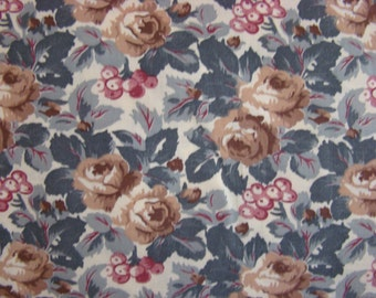 Vintage Floral Print with Beige Background and Gold Flowers,Rose Berries with Green / Grey Leaves Fabric by the Yard - 36 inches x 44 inches