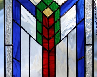Southwest - Geometric stained glass panel