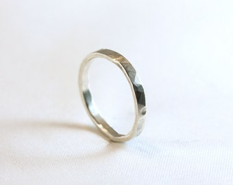 2mm Sterling Silver Hammered Ring
