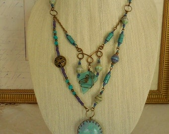 """Bohemian Rhapsody in Purple and Turquoise 34"""" necklace"""