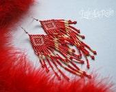 Royal Colours. Native American Style Long Beaded Earrings