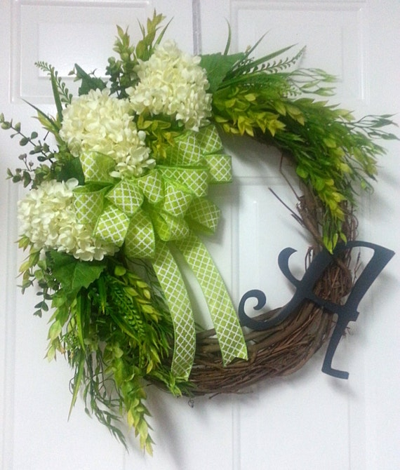 Initial Hydrangea Grapevine Wreath Monogram Spring Wreath