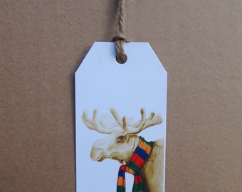 Christmas Moose Holiday Gift Tag - Set of 6