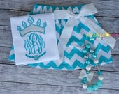 Inspired 'Frozen' Monogrammed Crown Applique Shirt & Chevron Skirt with M2M Chunky Necklace Set