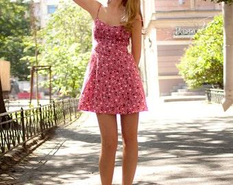 Pink dress Casual dress Beach dress Petite dress Floral dress Mini dress Strap dress