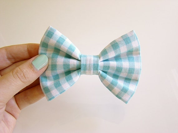 Fabric Hair Bow in Light Blue Gingham Print (Aqua Blue)