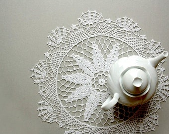White doily, crochet tablecloth, housewarming