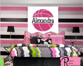Basketball Decal with Personalized Name Sports Vinyl Wall Decal Girls Room Teen Girl Boy Room Decor Wall Art-Basketball Wall Decal