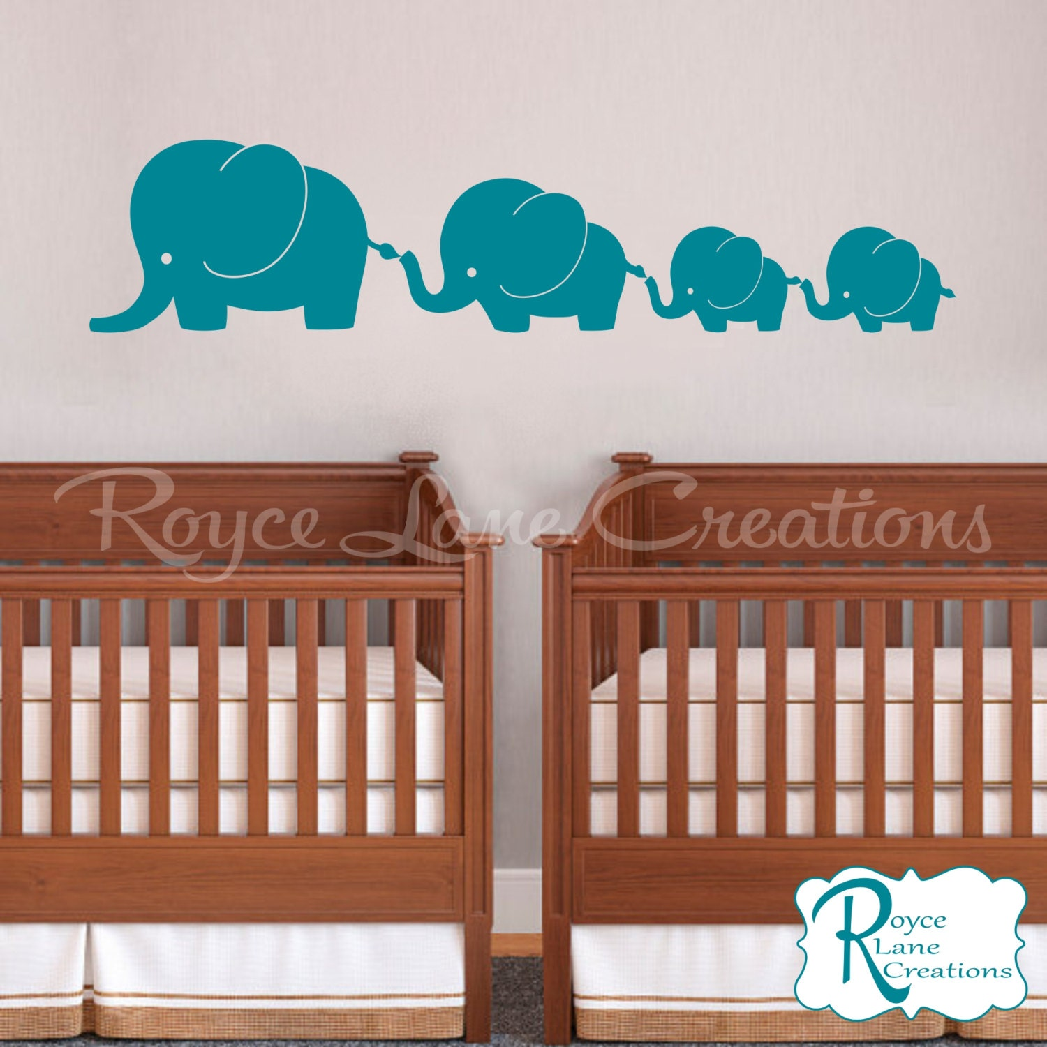 4 elephant family with twin baby elephants n19 twins vinyl wall decal amipublicfo Images