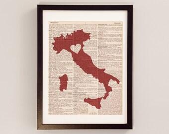 Bologna Italy Dictionary Print - Italian Art - Print on Vintage Dictionary Paper - I Love Bologna - Italia - Italian Print - Italy Art