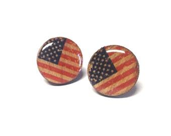USA Flag wood earrings, Patriotic earrings  Wood Earrings, Wood Studs, FLAG Studs, Wooden Studs, USA Flag earring studs, red white and blue