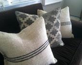 Vintage Authentic Grain Sack Pillow Cover / Antique hemp linen / Black Stripes