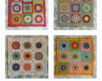Granny Circle Crochet Cushion Cover PATTERN PDF DIY 1 pattern with 4 variations by Alexandra MackeNZie