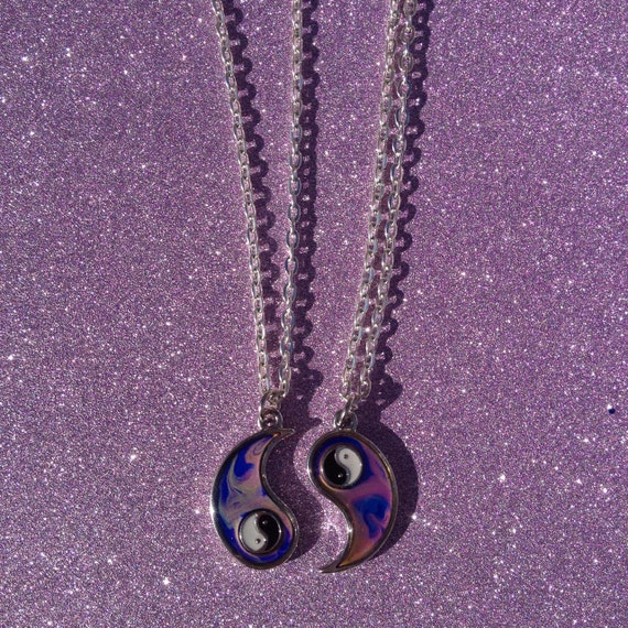 yin yang mood changing friendship necklaces by