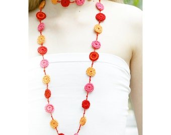Crochet necklace. Spots long necklace. 5 colour choices. 'Molly'
