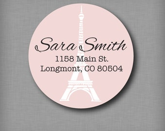 Return Address Labels, Personalized Round Address Stickers, French Parisian Eiffel Tower Sticker Labels