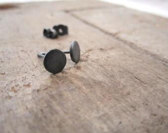 BLACK DOT SATIN - earrings in oxidized silver