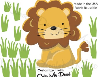 Lion Wall Decal, Reusable Lion Decal, Lion Decal, Jungle Safari Decals (Lion Grass) AOC