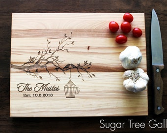 Personalized Wedding Cutting Board Family Established Sign - Custom Engraved Butcher Block Wedding Gift Cutting Board Shown in Hickory Wood