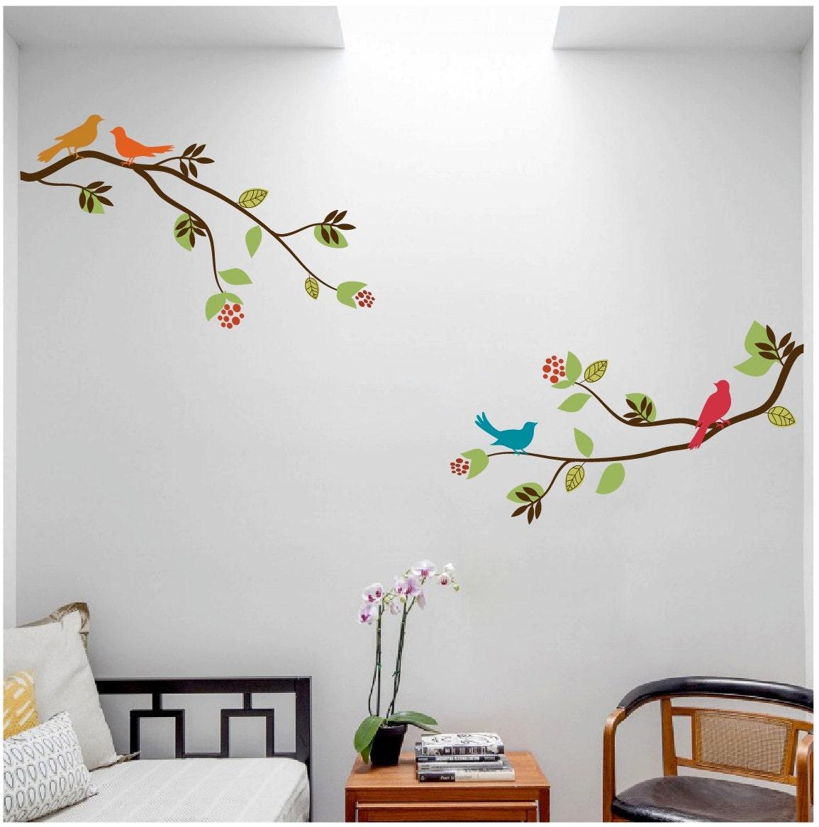 2 grosses branches d 39 arbre avec des oiseaux autocollant. Black Bedroom Furniture Sets. Home Design Ideas