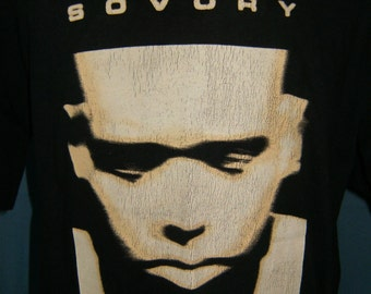 Vintage Black T Shirt Sovory Artist Singer RnB from 90's Shortsleeve Large
