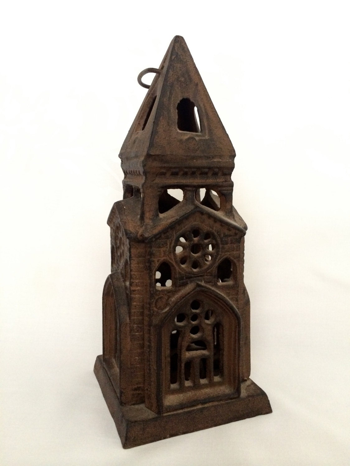 Cast Iron Church Candle Holder Hanging Candleholder Vintage