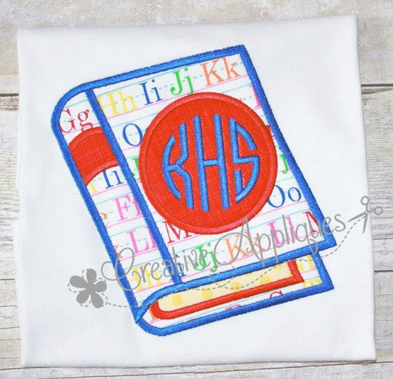 Book monogram digital machine embroidery applique design