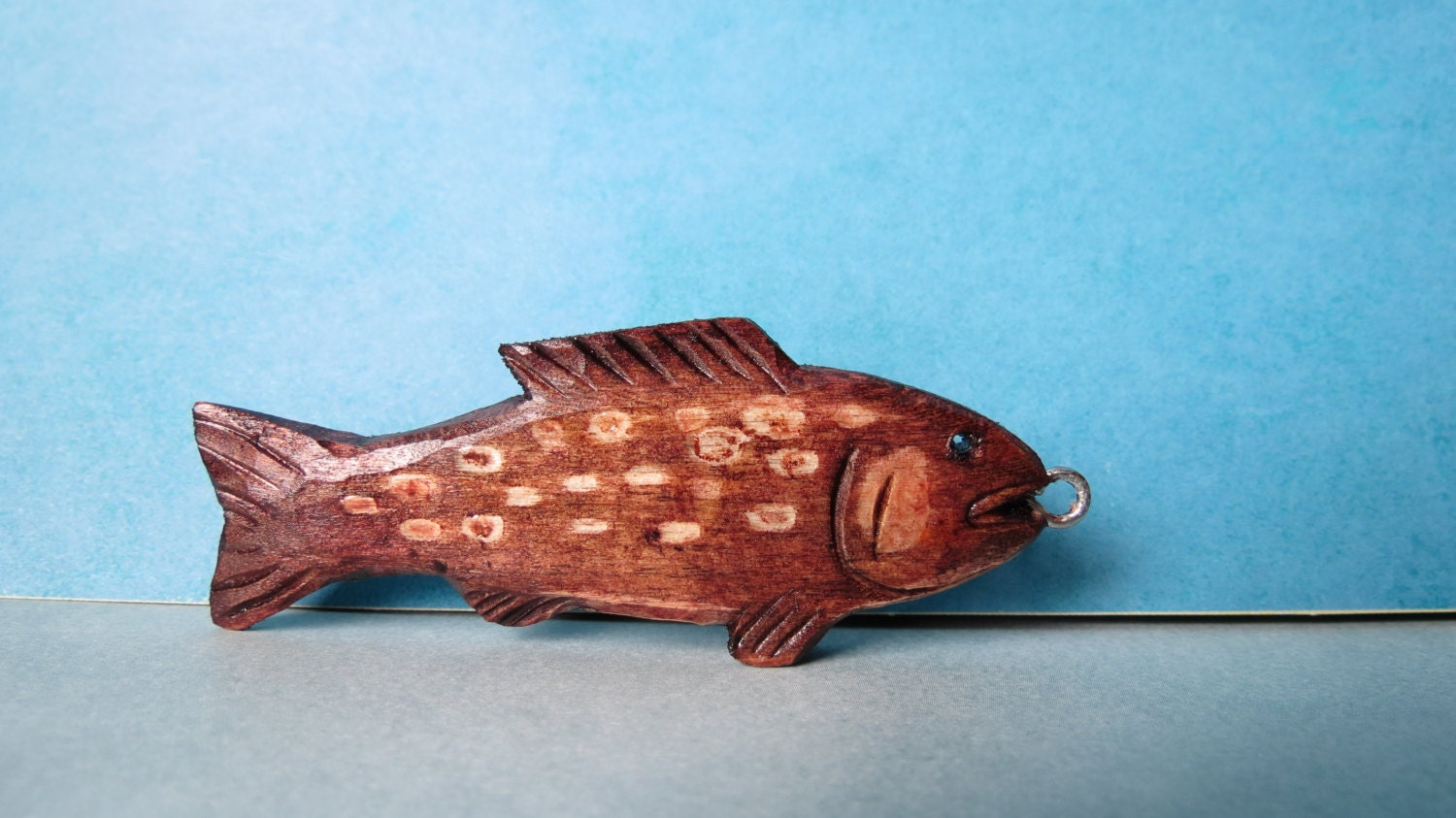 Wood carving fish keychain folk art hand carved by marshmayhem